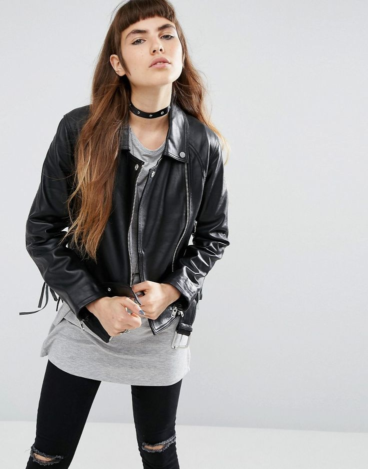 Buy it now. ASOS Leather Biker Jacket with Stitch and Lace up Detail - Black. Jacket by ASOS Collection, Soft-touch leather, Fully lined, Midweight design, Studded collar, Zip fastening, Functional pockets, Belted hem, Regular fit - true to size, Specialist leather clean, 100% Real Leather, Our model wears a UK 8/EU 36/US 4 and is 170cm/5'7 tall. ABOUT ASOS COLLECTION Score a wardrobe win no matter the dress code with our ASOS Collection own-label collection. From polished prom to the after…