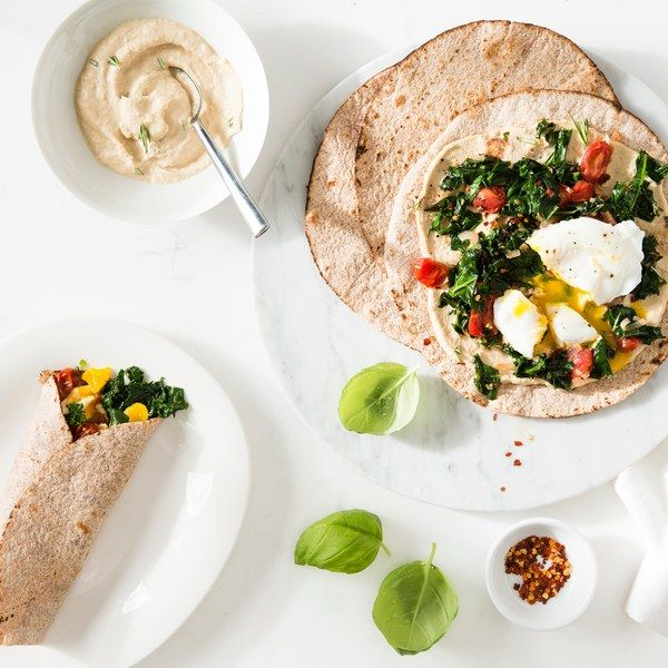 (Use 1 cup hummus and sprouted-grain tortillas) Egg, Kale, and Tomato Breakfast Wraps with Hummus -- serve with a fruit for the perfect Phase 3 breakfast.