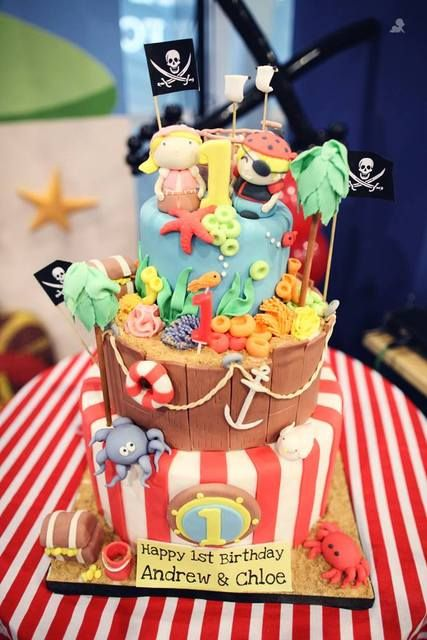 Amazing cake at a Pirate Party #pirate #partycake