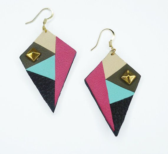 Original colorful leather earrings inspired by African print - women jewelry with genuine leather By www.adornessjewelry.etsy.com