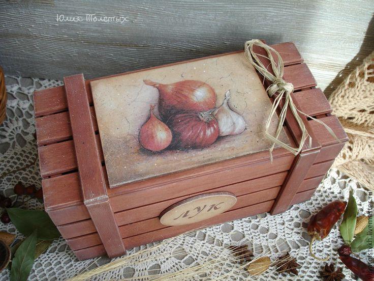 Купить Ящик для лука и чеснока - коричневый, ящик для овощей, ящик для хранения, ящик для кухни
