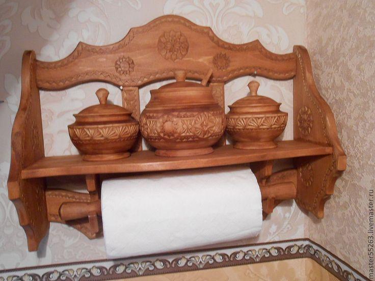 Купить или заказать полка для специй в интернет-магазине на Ярмарке Мастеров. Универсальная полочка для кухни из дерева,может использоваться как декоративная,так и функционально,оригинально смотрится в интерьере кухни,оформленной в русском стиле.Горшочки и скалка входят в комплект с пол…