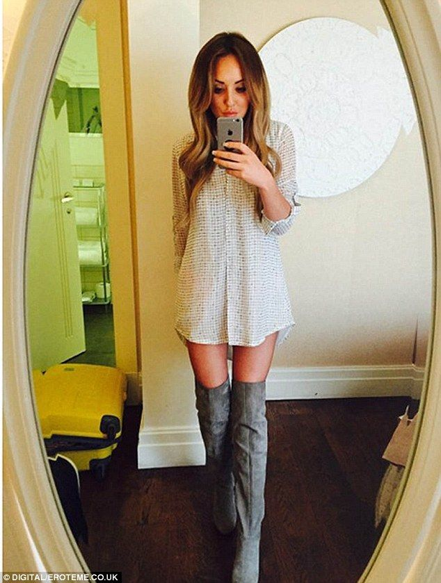 Cheeky selfie! Wearing a semi-sheer black-and-white shirt dress, the reality TV personalit...