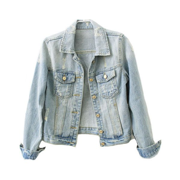 Distressed Denim Jacket ($66) ❤ liked on Polyvore featuring outerwear, jackets, tops, coats, long blue jacket, distressed jacket, pocket jacket, distressed denim jacket and blue jackets