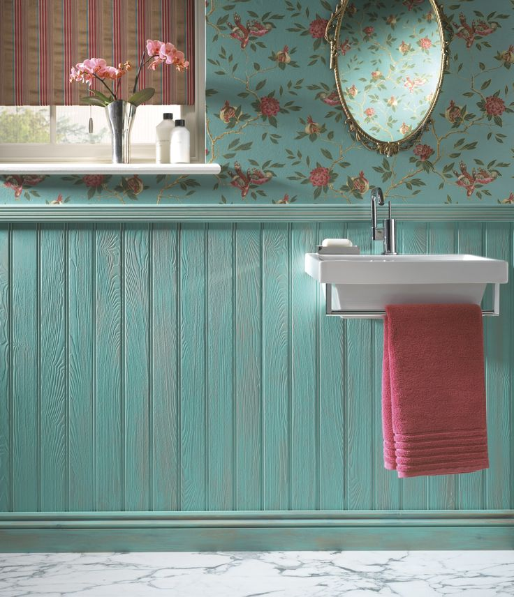tongue   groove turquoise wainscoting with floral wallpaper bedroom ideas bathroom wallpaper ideas uk
