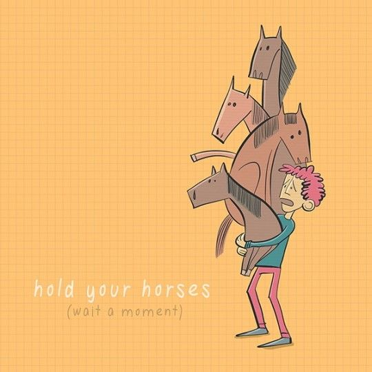 Hold your horses and check out other funny illustrations of common English idioms