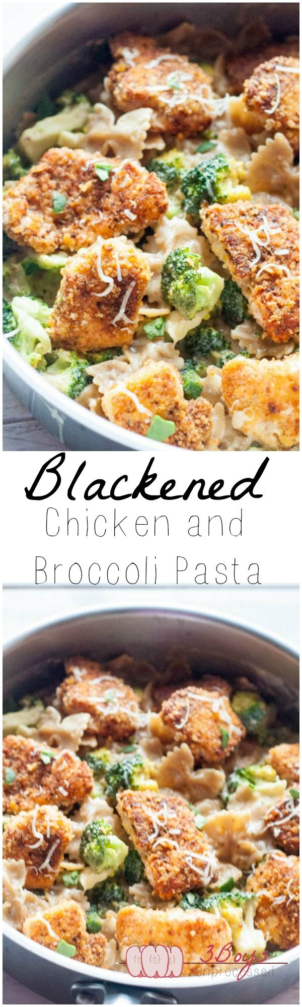 Crispy Blackened Chicken and Broccoli Pasta    www.3boysunprocessed.com
