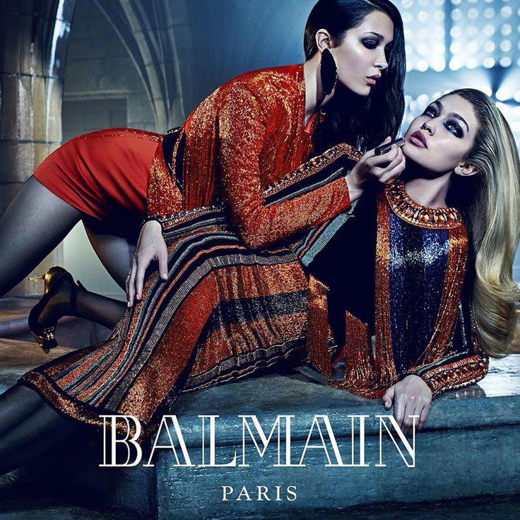 Mario Sorrenti photographs famous sister duos for the Balmain Fall 2015 campaign: Bella and Gigi Hadid.