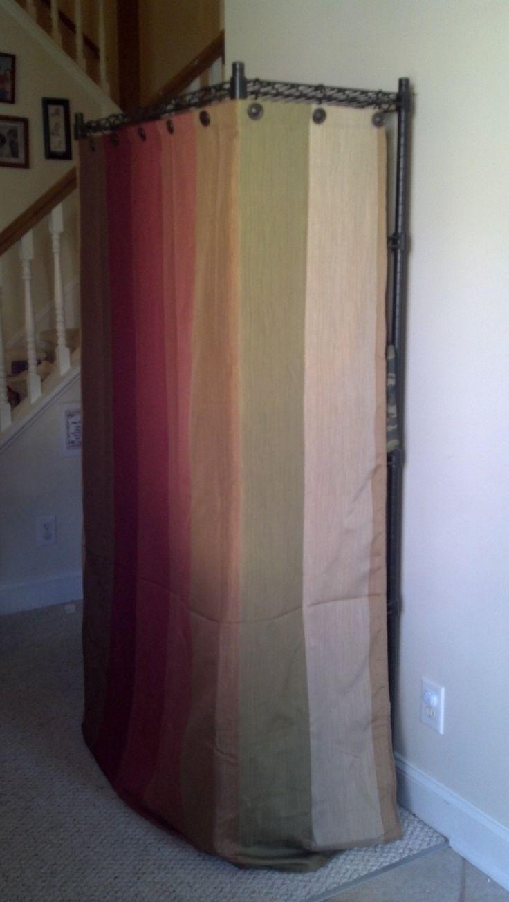 Entryway Shelf Unit Remade - fabric cover over utility shelf