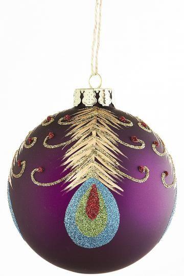 Purple Peacock Ball Ornaments - Set of 4