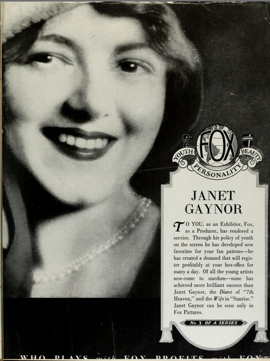 Janet Gaynor: Silent Film, Film Starlett, Film Ads, Janet Gaynor