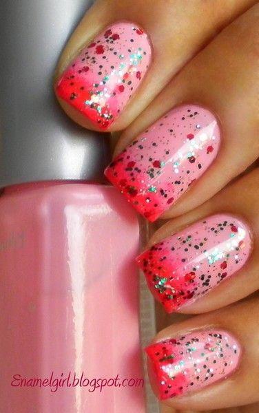Pink glittery nails.