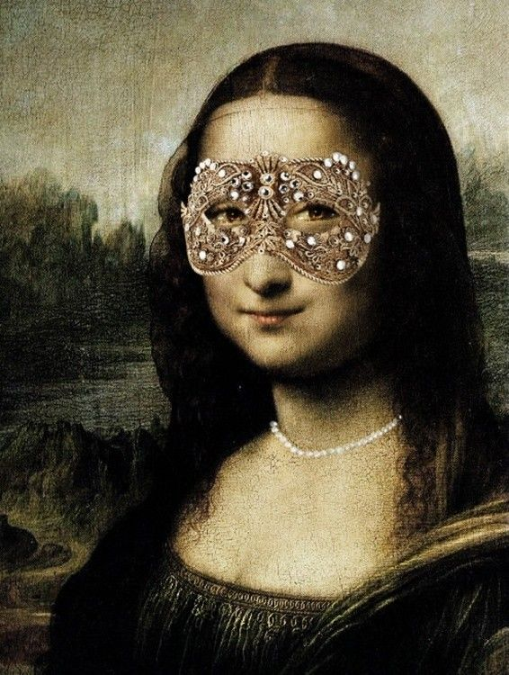 Mona Lisa with sparkly mask
