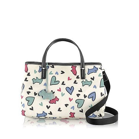 Radley's 'Love Me, Love My Dog' multi-compartment grab bag is a delightful day accessory, with plenty of functionality to keep everything organised. Finished in oilskin with a lively heart and dog print, it's crafted in a slouchy barrel shape and features a branded plaque for a sophisticated finish.