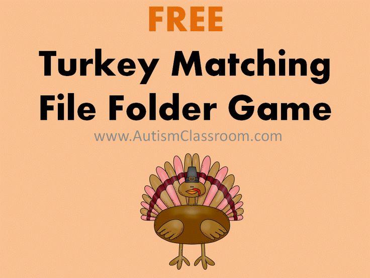 free turkey matching file folder game file folder filefolder turkey - Halloween File Folder Games