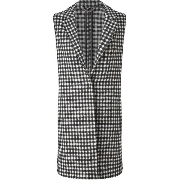 Marella Spinta Check Waistcoat, Black/White ($265) ❤ liked on Polyvore featuring outerwear, vests, sleeveless waistcoat, sleeveless vest, checkered vest, black and white checkered vest and marella