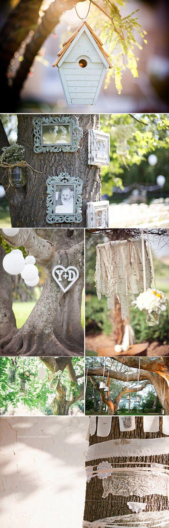 Decoración de árboles en las bodas: Ideas originales y sencillas para decorar arboles con banderines, farolillos, marcos y letras decorativas.