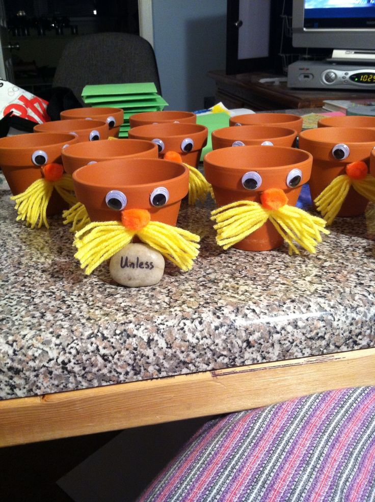 "Lorax planters with ""unless"" rocks"