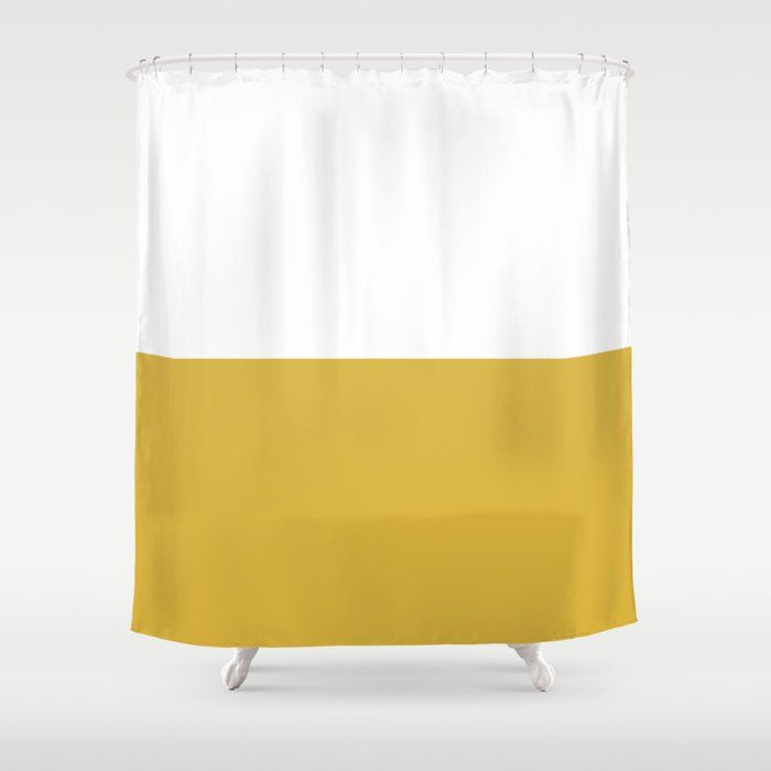 Mustard Yellow And White Minimalist Color Block Solid Half And