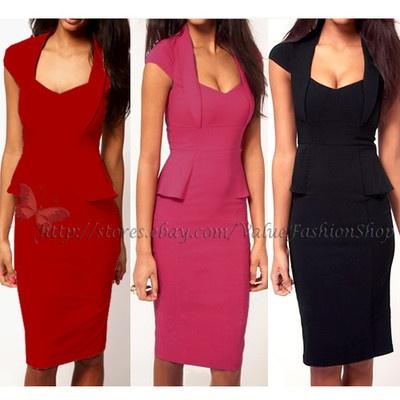 Women Casual Career Wear to Work Elegant Peplum Cap Sleeve Pencil Dress s M L XL | eBay