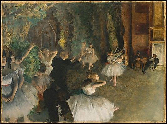 Edgar Degas (French, Paris 1834–1917 Paris). The Rehearsal of the Ballet Onstage, probably 1874. The Metropolitan Museum of Art, New York. H. O. Havemeyer Collection, Gift of Horace Havemeyer, 1929 (29.160.26) #dance