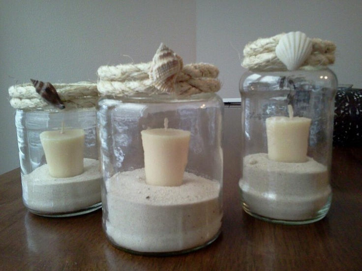 Recycle jars into candle holders