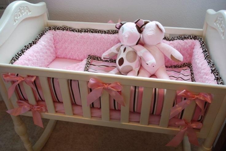 Pink and leopard print cradle bedding