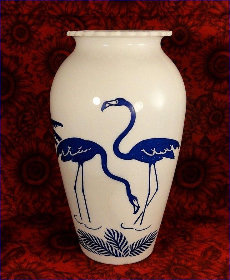 Blue flamingos, Fire King Pottery