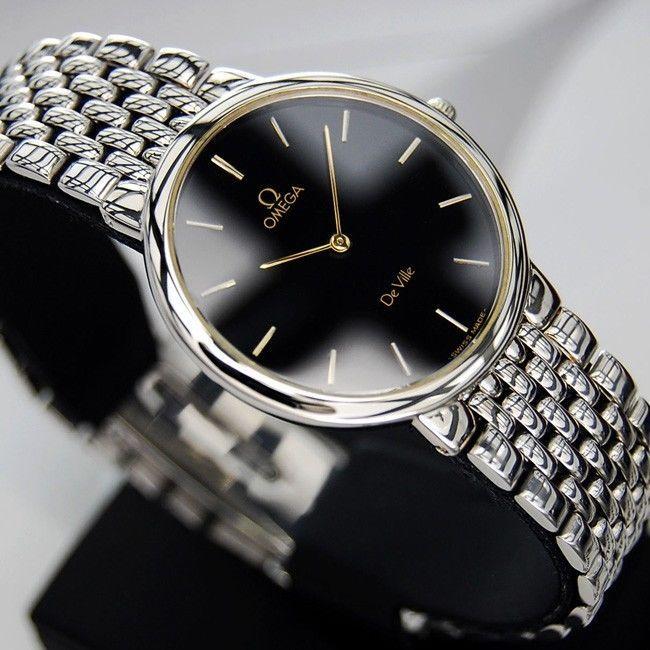 Omega De Ville Quartz Black Dial Swiss Made Antique Vintage Rare Used Mens  Watch