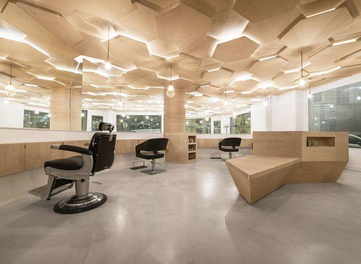 Joshua Florquin adds hexagonal-patterend ceiling to Les Dada East hair salon in Paris