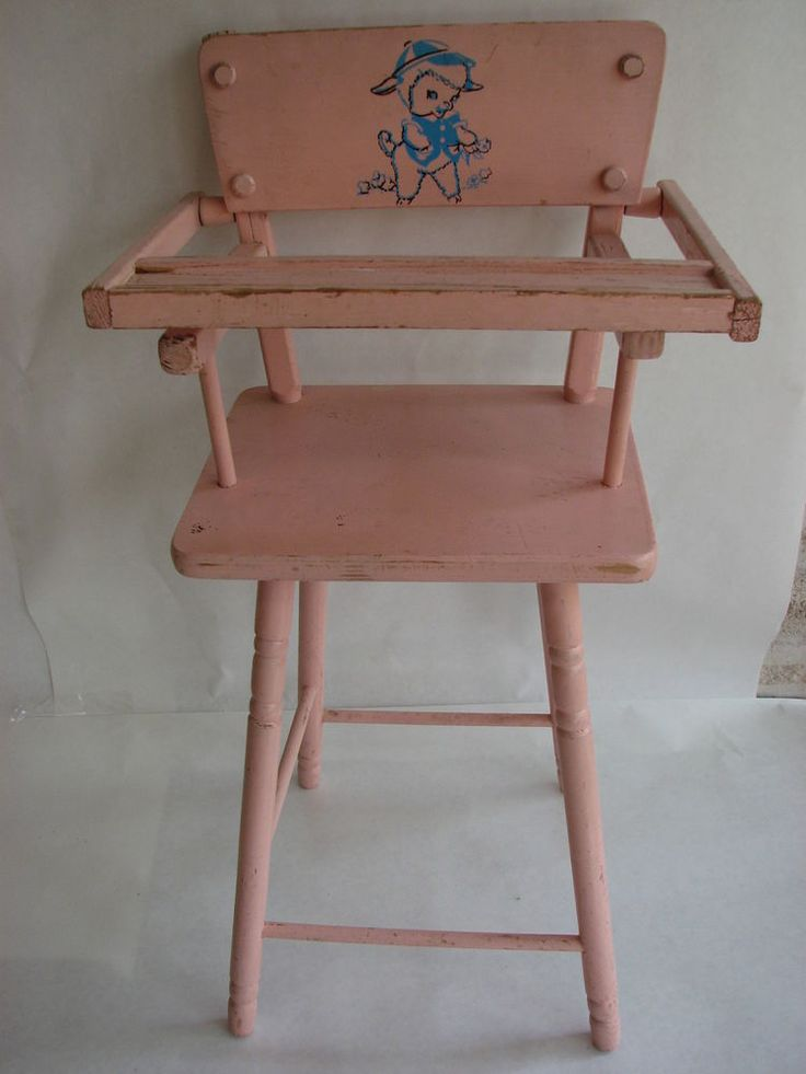 Vintage Pink CASS Wood Doll High Chair w/Lamb 22 1/2