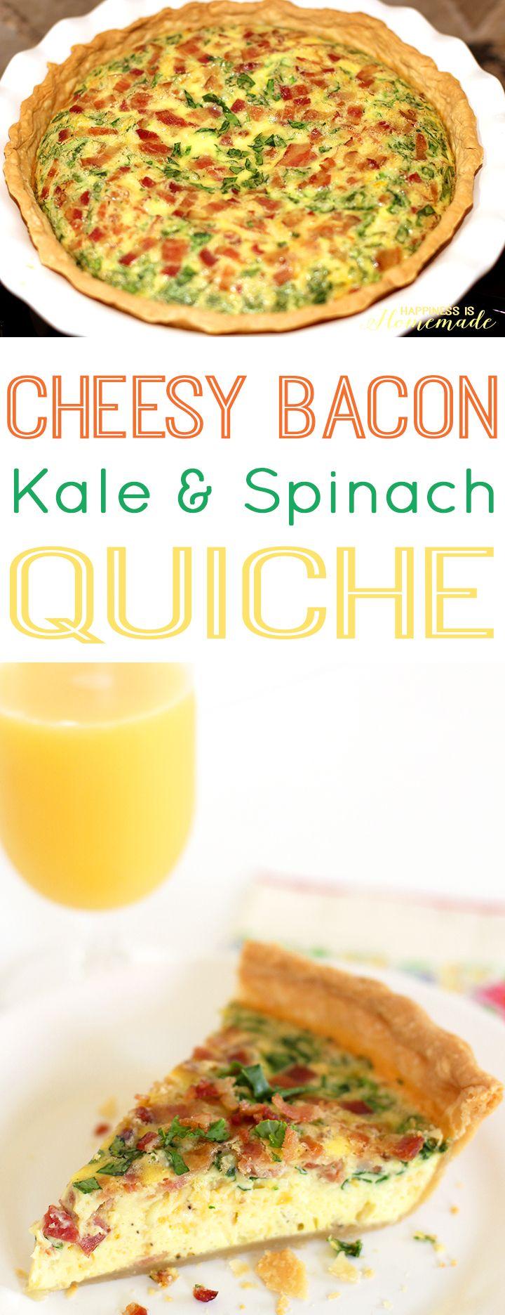 Cheesy Bacon Kale and Spinach Quiche Recipe