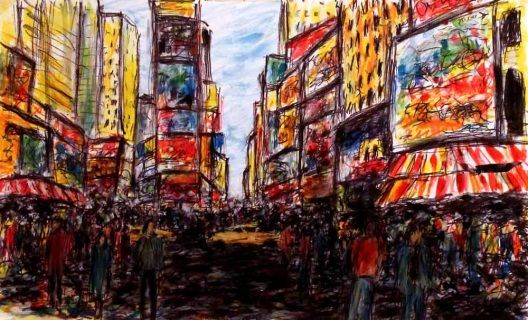 Abstract sketch of Broadway at Times Square, in New York City, with many people walking through the streets and the famous yellow taxis...  Brightly adorned with billboards and advertisements, Times Square is sometimes referred to as the Crossroads of the World. This is one of the world's busiest pedestrian routes, and the heart of the Broadway Theater District. Art by Kirstin McCoy www.kirstinmccoy.com