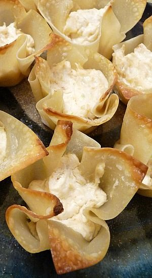 Baked Crab Rangoon Cups _ I've made Crab Rangoon before but when I saw the idea of putting the filling in cups, I decided to try it. It worked out great and was actually much easier!