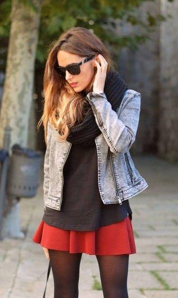 Look: Jaqueta Jeans + Saia