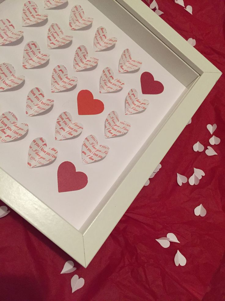 "Hearts - Medium (9"" sq.) - Red 'I Love You'"