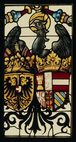Ansbach, Stiftskirche, Wappen Kaiser Karls V.  Foto: Rüdiger Becksmann, CVMA Deutschland/Freiburg, CC-BY 4.0 Link: http://id.corpusvitrearum.de/images/2449.html