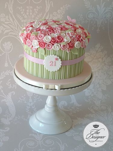 """This is a design I've done a few times but still love it.  7"""" coconut and lime cake covered in white chocolate ganache."""