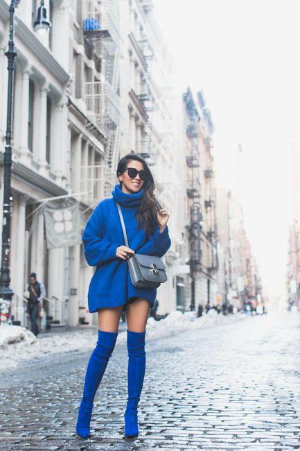 Magnificent Blue :: Blue sweater & Blue boots :: Outfit :: T O P :: Zara oversized sweater B O T T O M :: Alice + Olivia shorts S H O E S :: Stuart Weitzman & more options: TJMaxx blue boots | Nordstrom Rack velvet blue boots | Oscar de la Renta textured blue boots B A G :: Celine A C C E S S O R I E S :: Karen Walker sunglasses | David Yurman ring PUBLISHED: January 10, 2018