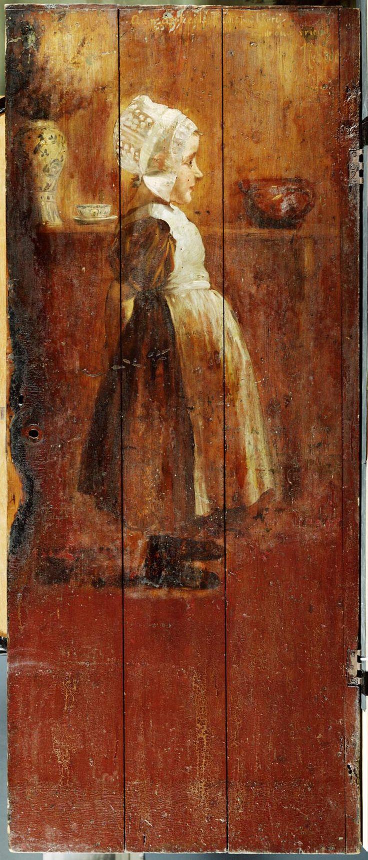 1896 L. Noster (1858-1910) Kunstenaars hadden belangstelling voor oude interieurs. Zij gebruikten ze als achtergrond in hun schilderijen. In Edam konden ze terecht bij de bakker. Naast de bakkerswinkel was een stijlkamer ingericht, die de 'Kunstbakkerij' werd genoemd. Als blijk van dank hebben kunstenaars deze schilderingen aangebracht op een van de wanden. Het betreft hier een deel van de betimmering uit de Kunstbakkerij Edam #NoordHolland #Volendam