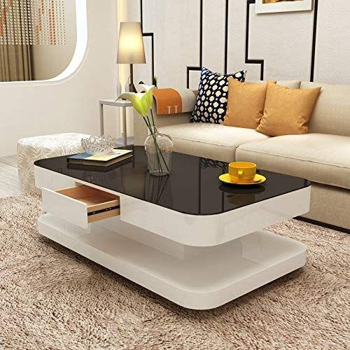 Mecor Coffee Table Design Modern High Gloss White Table