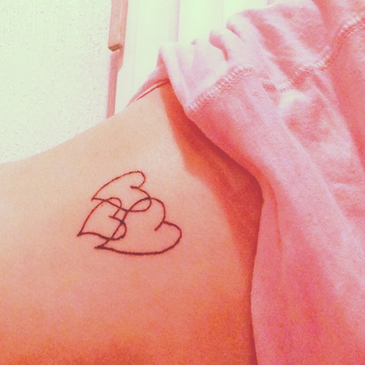 Cute, with our names written in the lines of the hearts...kinda like the infinity symbol