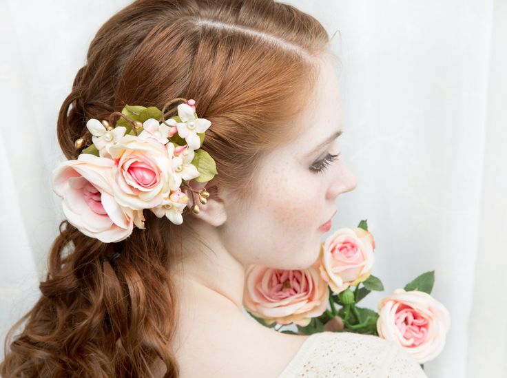 bridal hair accessory coral pink and gold blush by thehoneycomb, $105.00
