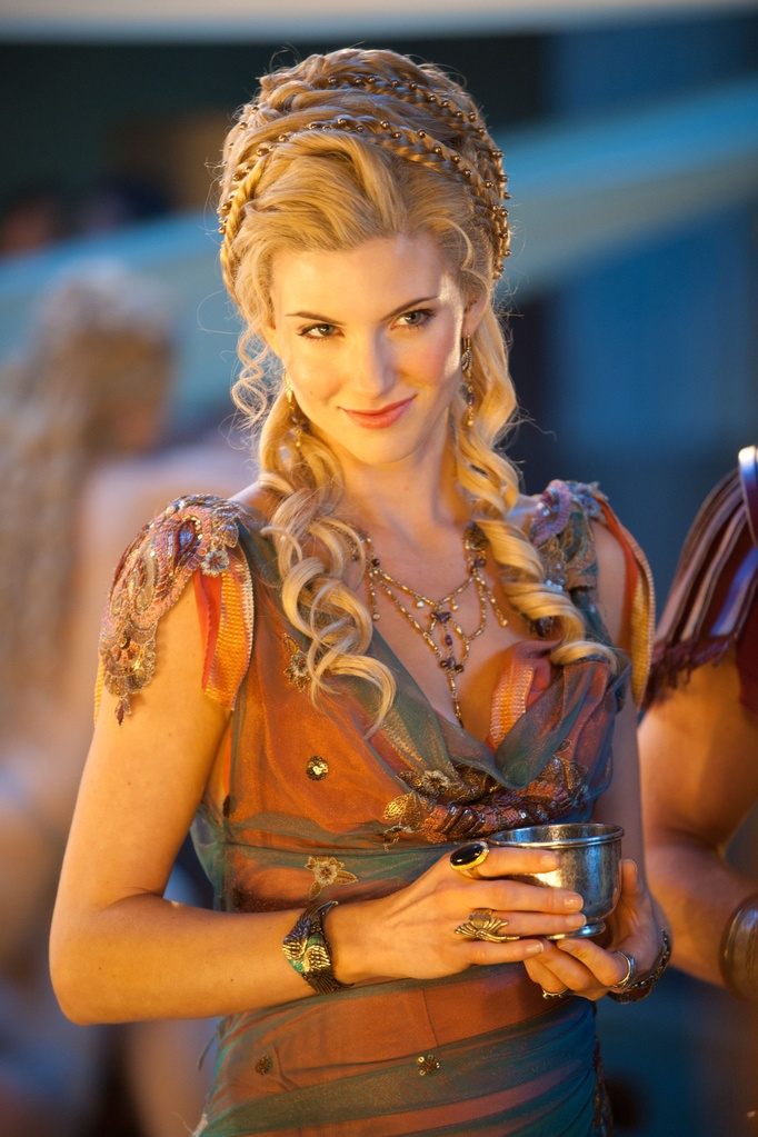 From the Starz series, Spartacus, a reinterpretation of how Roman nobles wore their hair - they made extensions popular 2,000 years ago!