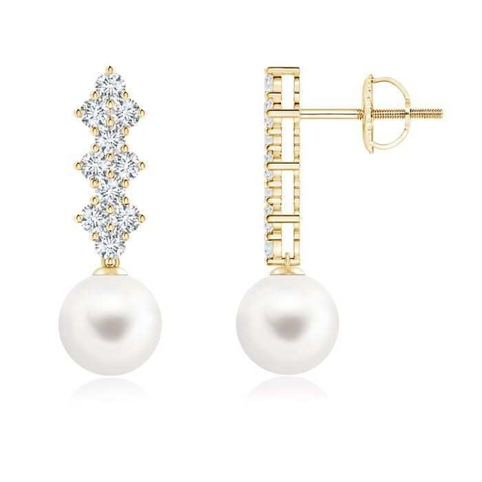 Angara Freshwater Cultured Pearl Earrings with Diamond Clusters RzFZh