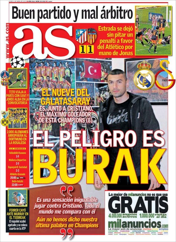 Los Titulares y Portadas de Noticias Destacadas Españolas del 1 de Abril de 2013 del Diario Deportivo AS ¿Que le parecio esta Portada de este Diario Español?