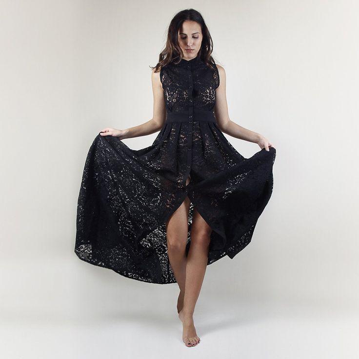 Hermosa maxi lace dress black