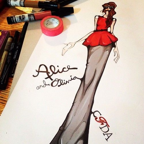 Our resident artist @kelseyfairhurst at it again - this time inspired by CFDA member @alice_olivia.