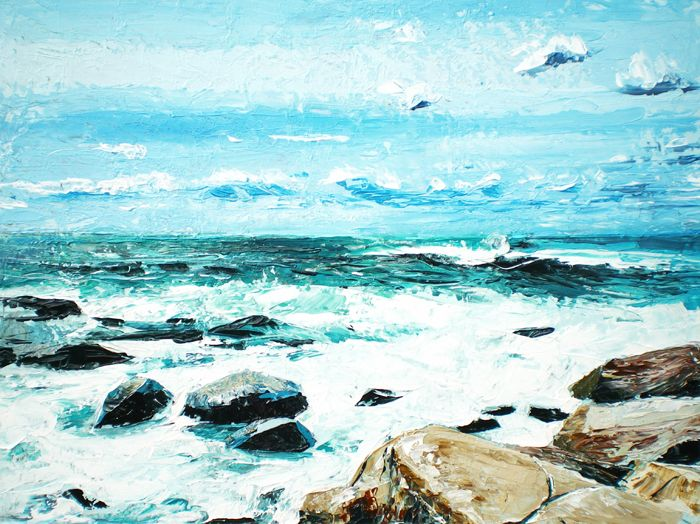 Bouldering 2 (2015) 16x12 Oil on Board by Daniel Cormier Bouldering after a storm in Prospect Nova Scotia. The sea is alive as wave after wave crashes against the rocks at my feet while high winds seem to pass right through me. It's a difficult place to paint so I work quickly using only the palette knife. This is my second Nova Scotia bouldering painting since 2012. http://danielcormier.blogspot.ca