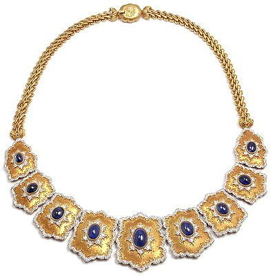 RARE Authentic Gianmaria Buccellati 18K Yellow Gold Diamond Sapphire Necklace | eBay - $49,000